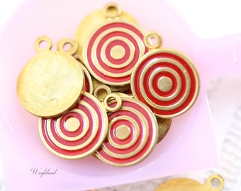 Red Vintage Style Swirl Charms Circle Pendants - 4