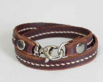 Double Round Brown Leather Bracelet Wrap Leather Bracelet with Metal Alloy Silver Tone Clasp Hand Stitched