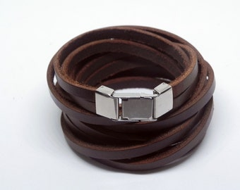 Multi Wrap Bracelet Leather Wrap Bracelet Leather Bracelet in Brown Color with Stainless Flip Clasp