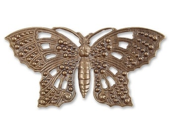 1 Piece Butterfly Element Pendant, Brass, Vintaj P021