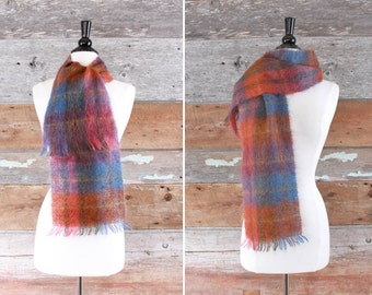 mohair wool scarf by Royal Scot / plaid wool scarf