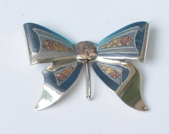 Bow Brooch Watch Pin Gold Filled Floral Design Signed FMCo Vintage