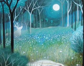 Special edition art print with gold leaf. The Silent Woods . Amanda Clark.