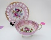 Vintage Pink Tea Cup & Saucer Set - Royal Sealy China, Iridescent Footed Cup, reticulated saucer, Gold trim