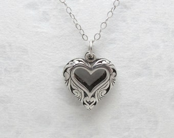 """Sale - Vintage Solid Sterling Silver Openwork Heart Pendant With 18"""" Sterling Silver Chain"""