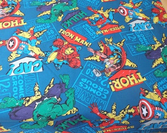 "Marvel Comics Fabric by Springs Creative. Premium Cotton. 45"" Wide. Grey or Turquoise Background. UK Seller."