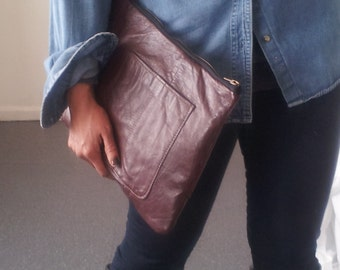 large leather clutch,recycled leather clutch, burgundy, large leather pouch, leather man bag, oversized pouch, ipad, kindle, tablet