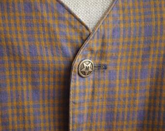 Steampunk Tan Plaid Waistcoat Vest