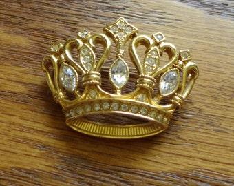 Crown Brooch K J Lane Avon Gold Rhinestones Queen