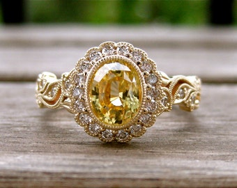 Unheated Yellow Ceylon Sapphire Engagement Ring in 14K Yellow Gold with Diamonds in Flower on Vine Size 9
