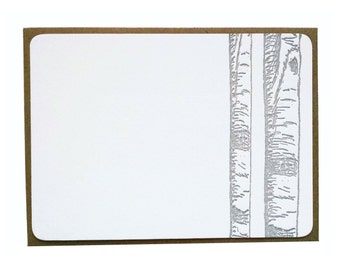 Birch Trees Letterpress Stationery in Grey - 5 pack