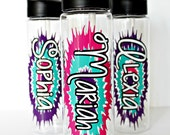 20-25 Personalized Water Bottles Custom Sport Gymnastics Dance Girl Scouts Softball Personalized with Flip Top Lid