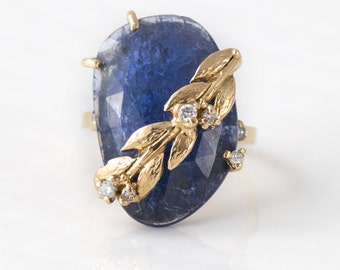 Tanzanite Ivy Ring with White Diamonds //  Rose Cut Tanzanite with Diamond Ivy Leaves in 14k Yellow Gold // Melanie Casey Fine Jewelry
