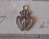 PAIR Antique French Double Heart Crowned Fleur de Lys Pendant Charm