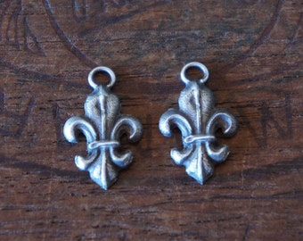PAIR Antique French Silver Fleur de Lys Pendants Charms