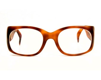 1980s Lugene Thick Tortoise Shell Brown Plastic Polycarbonate Vintage Frames Eyeglasses Rista Made in France