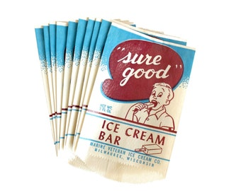 Vintage Ice Cream Bar Wrapper Set of 10 Mid Century Advertising Treat Bags Ephemera
