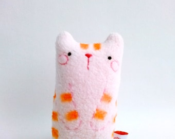 Cat, Tabby Cat Decor, Pink Stuffed Cat, Plush Cat, Fabric Cat, Small Cat Decoration, Toy Cat, Cat Gift - Miiro