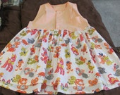 upcycled 70s fabric baby doll top ladies S-M refashion orange & calico animals