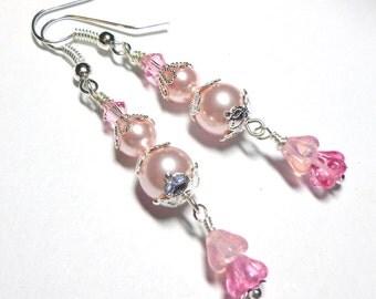 Long Dangle Pink Swarovski Pearl Earrings, Swarovski Crystal Earrings, Czech Glass Flower Earrings