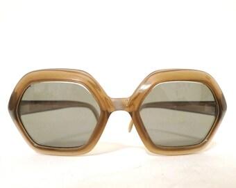 VTG 60s 70s Mod Iconic Cool Ray Polaroid Sunglasses NonRx Hexagon Props Dressup Fashion Nonprescription Eyeglass Frame Polygon sale Costume
