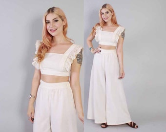Vintage 70s White 2 PIECE / 1970s Ruffled White Cotton Crop Top & Palazzo Pants Set XS - S