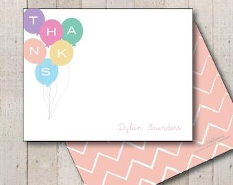 Kids Stationery // Girls Stationary // Baby Shower Thank You // Birthday Thank You // Balloon Thanks Stationery