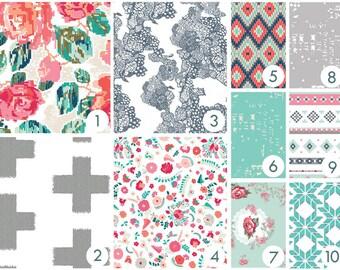 Boho Tapestry Roses Crib Bedding - Pink, Red, Aqua, Gray