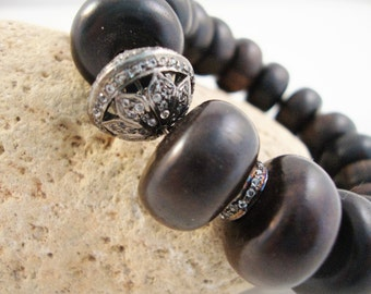 Huge ebony wood chunky rondelle natural wood bracelet with 2 genuine pave topaz sterling silver spacers & one large pave topaz flower bead