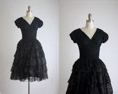 1950s black lace dress
