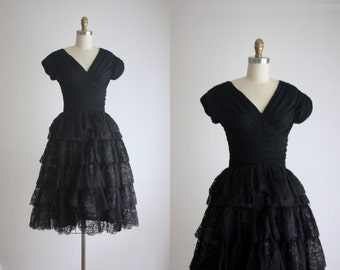 1950s black lace dress