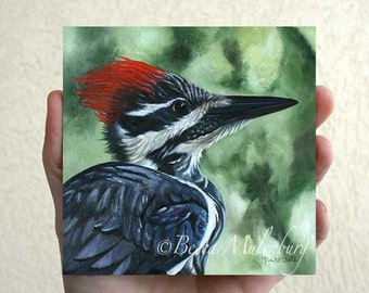 "bird painting 5x5"" Pileated Woodpecker Original oil painting fine art nature miniature wildlife"
