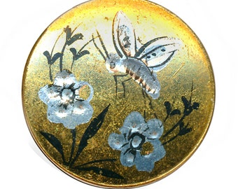 Button--Medium 19th C. Toled Brass with Bee and Flowers