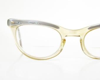 Vintage Cat Eye Shuron Eyeglasses 1950s Light Green Pastel Rhinestone Metallic Pin Up Girl 50s Fifties Mid Century Modern Mod Womens Ladies