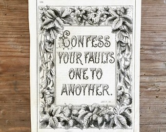 Vintage lithograph .. Confess Your Sins