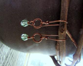 Artisan Copper Earrings - Twisted Copper Hoops with Green Czech Glass Dangles on Copper Ear Wires ~ Copper Jewelry - BOHO