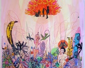 "Psychedelic Outsider Visionary Art - ""Guaranteed Eternal Sanctuary"" by Michael J Bowman aka Velveeta Heartbreak - Digital ePrint"