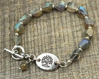 Labradorite tree bracelet, jewelry, silver and semiprecious stone beads, 7 1/2 inches long