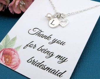 Initial Necklace, bridesmaid necklace, sterling silver, heart and pearl, initial jewelry, thank you bridesmaid gift, message card