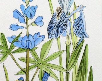 Blue Bachelor Buttons Mint Nature Art Print Garden Flower Watercolor Illustration