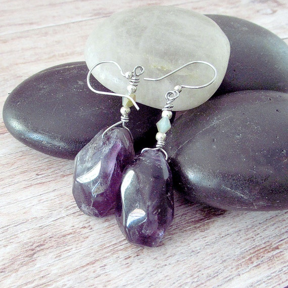 Raw Amethyst Earrings, Boho Amethyst Earrings - Crystal Amethyst Earrings - February Birthstone - Rough Amethyst Earrings - Gifts for Her