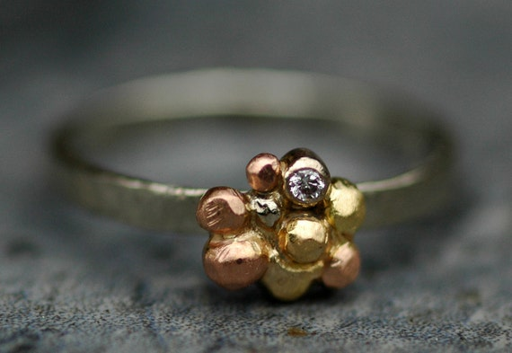 Recycled Rose, White, and Yellow Gold Ring with Diamond- Hammered Band- Ready to Ship