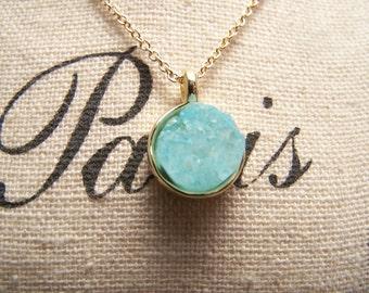 Blue Druzy Necklace. Druzy Agate Quartz. Simple. Minimalist