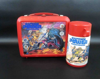 Vintage Captain Power Lunchbox with Thermos