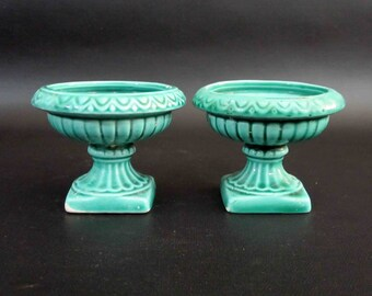 Vintage Ceramic Urn Shaped Candle Holders in Teal. Circa 1960's.