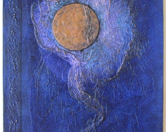 Handmade Refillable Journal Blue copper Moon 9x7 Original