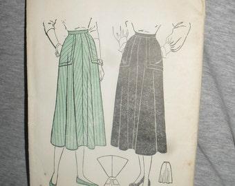 Vintage Butterick Pattern - Misses Four Gore Flared Skirt- 1940s - # 4460