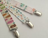 Designer Fabric Soother Clip - Soo String - Binky Leash - Pacifier Holder - Toy Strap - Feathers Mint Coral Gold Arrows
