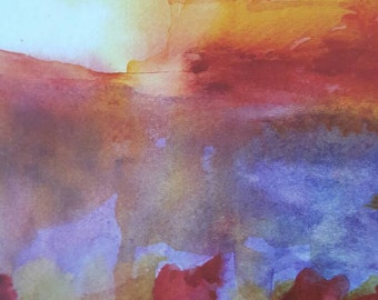 Impressionist Water Color Sunset With Poppies Print from Rustysecrets