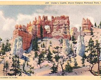 Utah Vintage Postcard - Oastler's Castle at Bryce Canyon National Park (Unused)